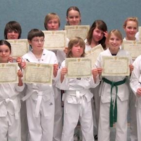Gürtelprüfung der Taekwondo Kindergruppe
