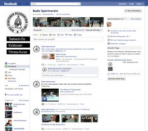 Die Facebook Seite des Budo Sportvereins